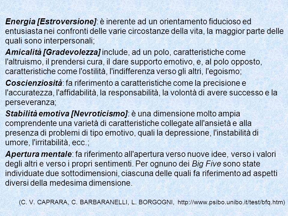Energia [Estroversione]: è inerente ad un orientamento fiducioso ed entusiasta nei confronti delle varie circostanze della vita, la maggior parte delle quali sono interpersonali;